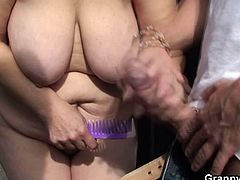 After getting caught by a young stud while changing her clothes, this vicious blonde granny gives him a blowjob. Then see her riding his cock til outdoors til she cums VERY hard.