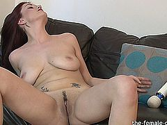 Horny babe Brook Scott has amazing big natural breasts.  Watch as she tweaks her nipples and masturbates in every room until she finally orgasms on the couch.