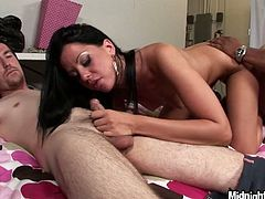Lustful brunette like sit hotter with several dudes at the same time. She hops on one cock and sucks three shlongs at the same time. Enjoy gangbang party for free.