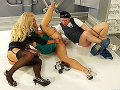 This Pissing In Action scene gets super wet, and features two amazing blond babes, Jenna Lovely and Bombshell, showing off their sexy selves in a photoshoot to capture this sexy ass moment forever! Cameraman Frenky lets these two classed up babes in their high heels put on a lesbo show that eventually turns into golden showers galore, and you know by this time Frenky is rock-fucking-hard and ready to take on this two pissed up Eurobabes! All it takes is ripping up Bombshell's pantyhose and sliding that cock inside and letting the piss flow all throughout this double blond fuck fest! Frenky unl