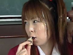 Cute japanese likes the taste of cum sliding all over her sweet mouth