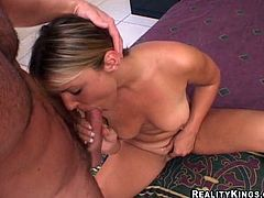 Veronika Raquel is a sexy blonde with big natural tits and an unbelievably hot body. Watch this amateur video where she takes a ride on a big cock.