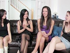 Watch these hot four young lesbians in naughty action.They decide to have a foursome and I sure agree with their decision. These hot babes lick and toy their pussies until they orgasm.You will love those hot asses and tight pussies in licking and toying action!