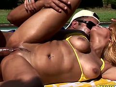 Beautiful Brazilian girl Brenda Brachto is getting naughty with some horny stud on the poolside. She favours him with a fantastic blowjob and then they bang doggy style and in cowgirl position.