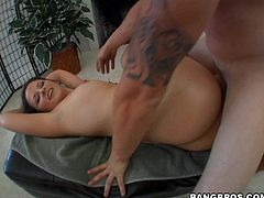 Caroline Pierce's big ass is going to be all oiled up and fucked hard before it gets covered in cum in this hardcore sex video.