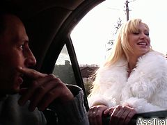 See the horny and acrobatic blonde slut Lia getting her ass and pussy double penetrated by two horny studs before her ass gets filled with a lot of fresh sperm.