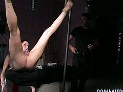 Whorish brunette MILF gets suspended in the air while a sophisticated master vacuums first her baggy tits and later her shaved cunt in BDSM sex video by 21 Sextury.