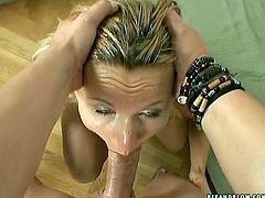 Wanton blond MILF looks exhausted while giving deepthroat to aroused dude