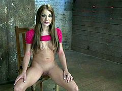 The stunning babe Amy Brooke is going to be tied up and severely toyed so she can be exhausted with forced orgasms.