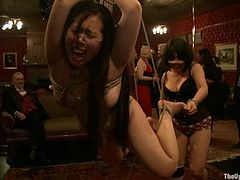 Utmost submission of three skanky bitches in action... Whores get their fat asses brutally caned and whipped by their masters. Then sluts get their mouths fucked balls deep.