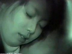 The horny Asian couple decided to fuck in the car.It was dark but night vision makes it visible, Watch how this sexy Japanese girl first gets her pussy fucked and then she sucked his cock. Don't miss it!