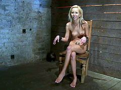 This horny and naughty siren Rene Phoenix is being tortured so fucking hard. She gets tied up and some toys make her reach orgasm.