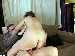 Hot tempered mature brunette enjoys dirty fuck. Young dude penetrates her mouth hole and juicy slit in cowgirl style. Watch old+young sex video for free.