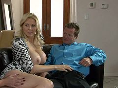 Pretty brunette Delilah Davis is her husbands mistress. Hot big titted mature blonde Julia Ann is ready to give threesome a try. She sucks her hubbys rod and gets her pussy licked by his mistress at the same time.