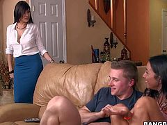Stephani Morettis roomate Jazmyn catches her sucking her boyfriends stiff beefy cock with desire on the couch. Elegant brunette in white blouse and long blue squirt is ready to do the same.