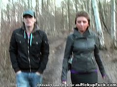 Here's one naughty brunette who gets taken into the forest before letting her man play with her tits. Then it's time for her to give him a hell of a blowjob.
