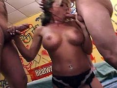 Voluptuous latina whore shows off her huge tits and wet pussy while horny dudes can't wait to fuck her. Once she opens her legs, she gets her pussy fucked hard and deep, she gets her throat fucked and takes like 5 guys at the same time!
