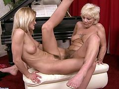 21 Sextury xxx clip provides with hot lesbian sex scene. Spoiled young blondie spreads legs wide and old fat pale whore eats her juicy cunt right on the piano. Then booty girlie repays with the same kinky action to gammer.