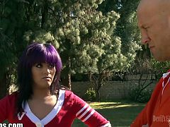 Christian XXX gets to fuck the ass hole of a cute teen shemale with purple hair. She wants to become a cheerleader, so she agrees.