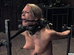This slut is degraded like a dirty whore. Can you believe how badly this slut is taking the torture. She is choked mercilessly and tied up and made to ride a sybian. This blonde really knows how to handle torture.