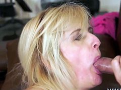 Skanky blond whore gives deepthroat blowjob after poke in doggy style