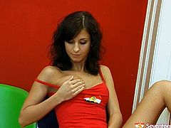Well, this ordinary looking brunette teen is far from being modest. Torrid nympho with small tits wears only red top. She's got a dildo to fuck her wet teen pussy in a standing position. Just have a look at this voracious teeny black head in Seventeen Video sex clip and get ready to jizz at once.