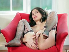 Awesome though pale brunette is all alone at home. It's surely high time to wankerbate for orgasm. Appetizing booty cutie in black stockings spreads legs and tickles her shaved pussy to reach orgasm on her own.