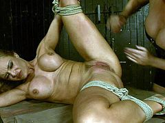Horny dominant bitch gonna make this busty appetizing blondie moan. Slutty bitch ties blond haired chick with ropes. Curvy nympho moans while getting her wet pussy polished with a sex toy and tickled madly by spoiled dyke.