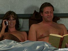 Trina Cox is a gorgeous and sensual MILF who is going to stop her husband's reading session with a blowjob and sex.