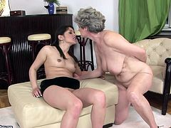Dark-haired enchantress always gets what she wants! She gets her lovely pussy expertly eaten out in this hot old vs young sex scene. Check out this amazing sex video now to see what else these lustful lesbians are up to.