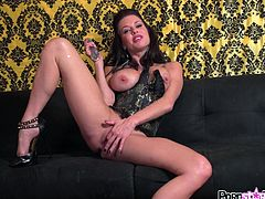 Alluring Veronica Avluv enjoys a glass toy drilling deep into her warm cunt