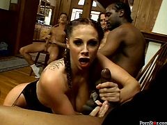 Jaw-dropping whore Gianna Michaels has an amazing body! She has a lovely pair of big boobs and a big firm ass. Moreover, she is a super qualified slut when it comes to pleasing men. She takes one stiff dick after another sucking them all dry. This girl will get your dick hard in a blink!