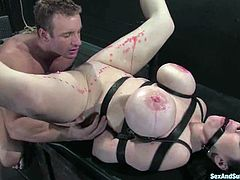 That is only one sight of this BDSM action. Babe gets some different pain, such as pain from the burning wax drops and some anal abuse.