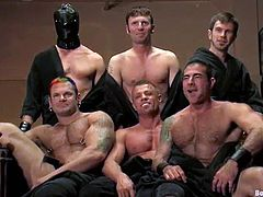 It's one crazy gay BDSM orgy with all the naughty action you can imagine. Some are dominant, some are submissive, but they all end up having fun!