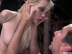 Playful blondie gets suspended and tortured