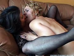 Horny granny, Sancha dusts off her pussy with her favorite vibrator! What's even more shocking is the huge green dildo that Sancha whips outta nowhere and stuffs up her cunt. Decadent blond, Kelly Leigh shows up and starts licking Sancha's big titties, then helps jam up an even longer dildo up Sancha's greedy wet muff. These old lesbian ladies top it off with a wild 69 that leaves both bitches panting for more!