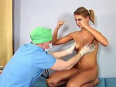 This kinky European doctor makes his teen patient get naked and accept all his inappropriate exams. He lubes her pussy and he inserts a speculum inside her vagina.
