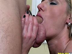 Busty Zoe Holiday gives nice blowjob and gets fucked doggystyle