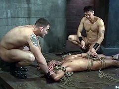 Well, he can't escape this hell, as he is bondaged for this insane gay BDSM double penetration. Two men are going to give him pain!