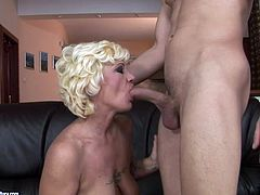 Luscious granny with bearded clam bends over the leather couch getting hammered bad from behind. Then she gives stout blowjob demonstrating her awesome skills.