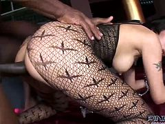 See the vicious Asian brunette slave Asia De Ville getting her mouth and pussy into kingdom come by her naughty ebony master.
