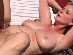 Busty red-haired whore gets anal fucked doggy style outdoor