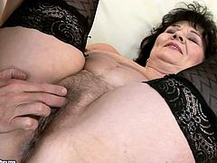 Immense brunette BBW gets her fat hairy pussy fingered by kinky dad