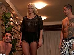 Awesome blonde chick Chelsey Lanette is getting naughty with two handsome guys near an indoor pool. Chelsey sucks the guy's pricks ardently and then allows them to double penetrate her.
