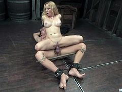 Sexy blonde Aiden Starr is having fun with Danny Wylde in a basement. The bitch binds and beats the guy and then plays with his dick till it gets blue and jumps on it ardently afterwards.