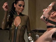 Ms Kim is going to strapon fuck this guy in this pegging and femdom session packed with bondage and torturing action.