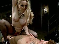 Aiden Starr is going to strapon fuck a guy, give him ball torture and ride his dick in this femdom video where she shows him who the boss really is.