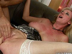 This sex-starved bimbo is sandwiched between two horny studs with stiff cocks that want to fuck the shit out of her. Fortunately for us, dirty-minded slut knows how to handle two cocks at once as they shove their cocks in her pussy and ass.