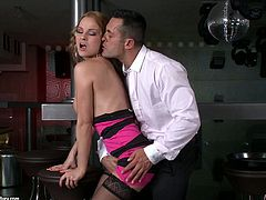 Ardent busty hottie gives fantastic blowjob to oversized cock