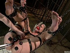 Lustful blonde Anikka Albrite lets lewd mistress Claire Adams put her into fetters and play with her holes. Claire tortures the bitch and then drills her awesome coochie with a dildo.